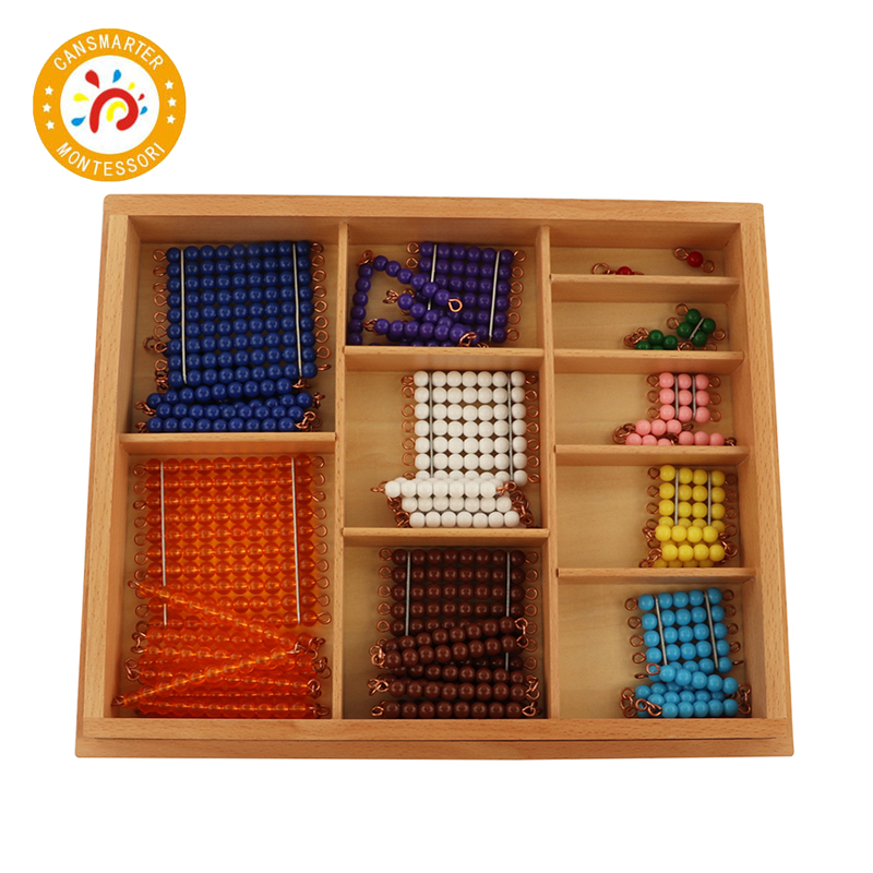 Bébé jouet Montessori matériel chaîne de perles courtes avec boîte jouet mathématique enfants aides pédagogiques