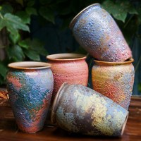 Traditional Chinese vase Coarse pottery Mini ceramic vases home decor crafts flower vases for homes wedding decoration