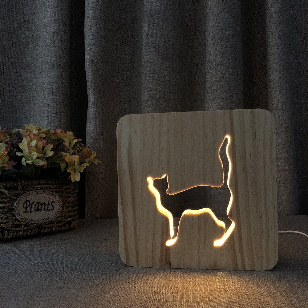PET Addiction cute animal cat shape Wooden 3D LED Night Light wooden night lamp as personalised cat gifts
