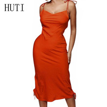 HUTI Spaghetti Strap Backless Sexy Slim Dress Summer Sleeveless Casual Orange Bodycon Party Women Robe 2019 Femme