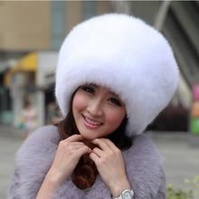 2016 New Women Winter Fur Hat Cap Genuine Fox Fur Hats Fashion Knitted Silver Fox Fur Caps Female Russian Outdoor  Caps