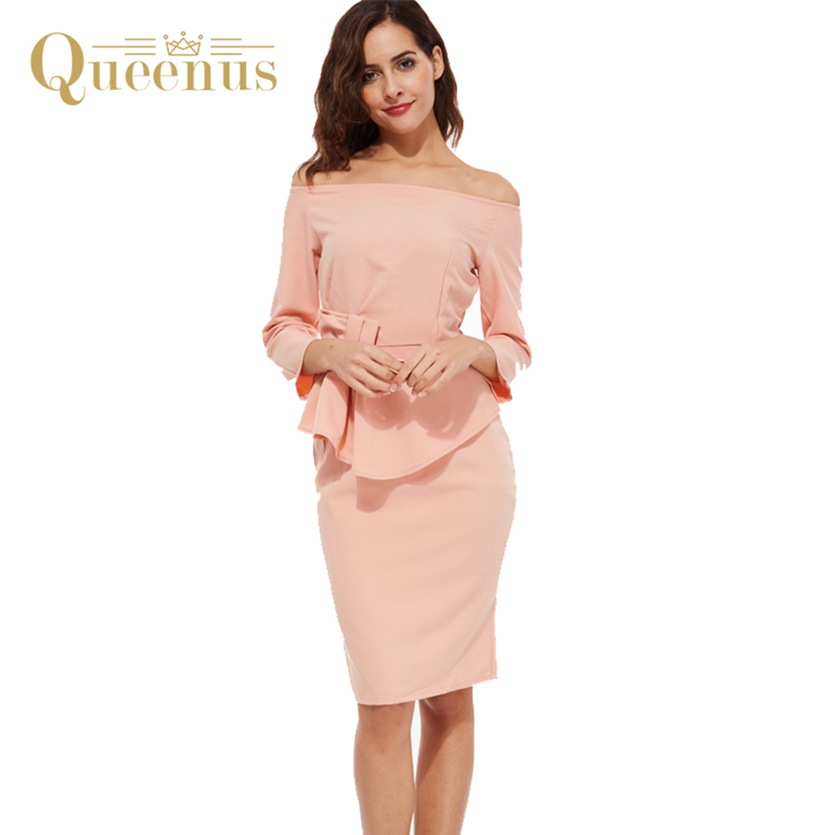 Queenus Women Summer Dress 2017 Elegant Off Shoulder Day Dresses Knee Length Slash Neck Ruffles Bow Knot Women Pencil Dresses