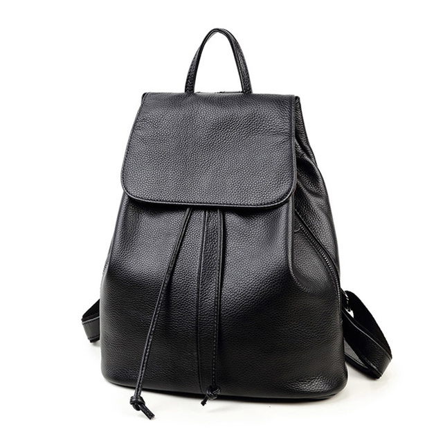 women leather backpack for teenagers girls string black pretty ...