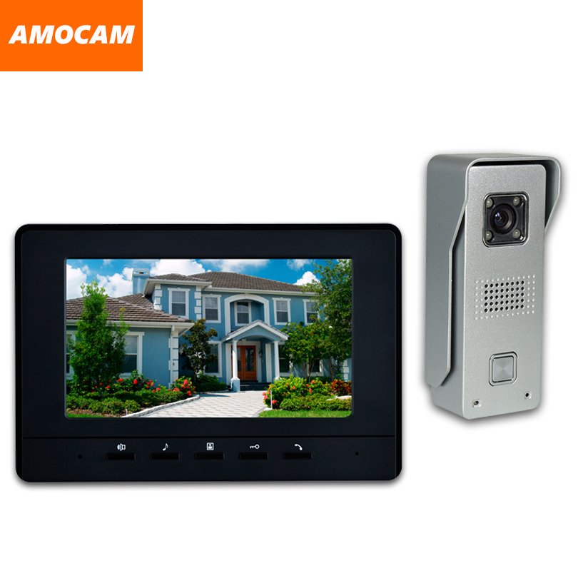 7 Inch LCD Monitor Wired video Doorbell intercom System Video Door Phone Aluminium alloy Camera Video Intercom doorphone Kit 7 inch video doorbell tft lcd hd screen wired video doorphone for villa one monitor with one metal outdoor unit night vision