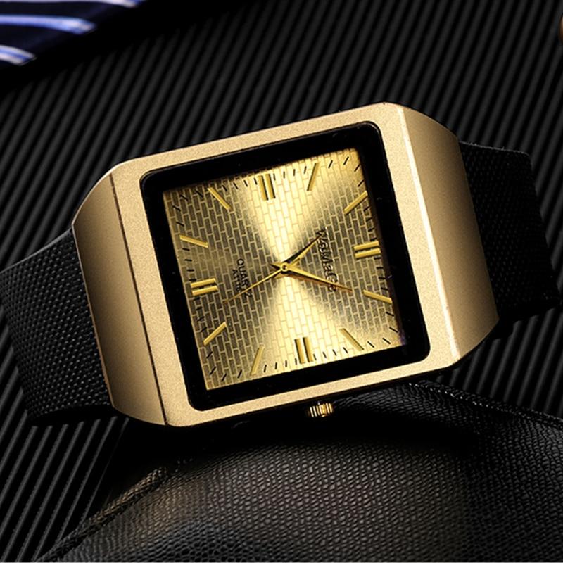 где купить Fashion Square Men's Watch Top Brand Luxury Gold Watch Men Watch Silicone Watches Men Clock relogio masculino erkek kol saati дешево