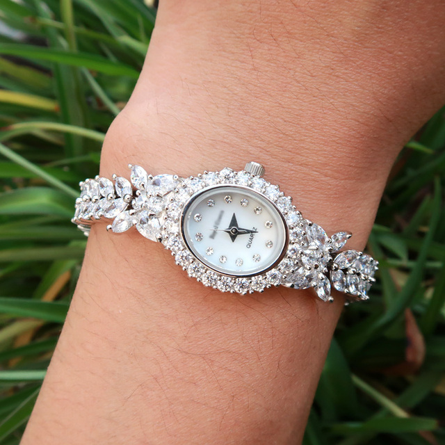 jankelly Qualtiy AAA Zircon Elements Leaf Austrian Crystal Bracelet Watch for We