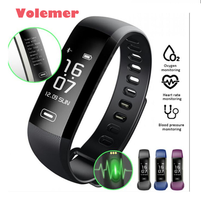 Volemer R5max Smart Wristband Pedometer Watches Blood Pressure Fitness Bracelet Vibrating Alarm Band Pk