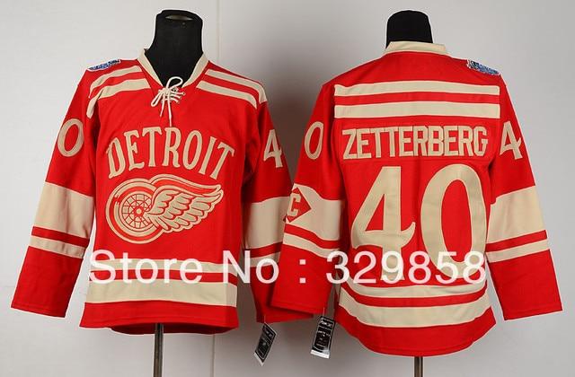Free Shipping 2014 Detroit Red Wings Hockey Jerseys  40 Henrik Zetterberg  Winter Classic Jersey Embroidery Logo Mix Order 64dde877986
