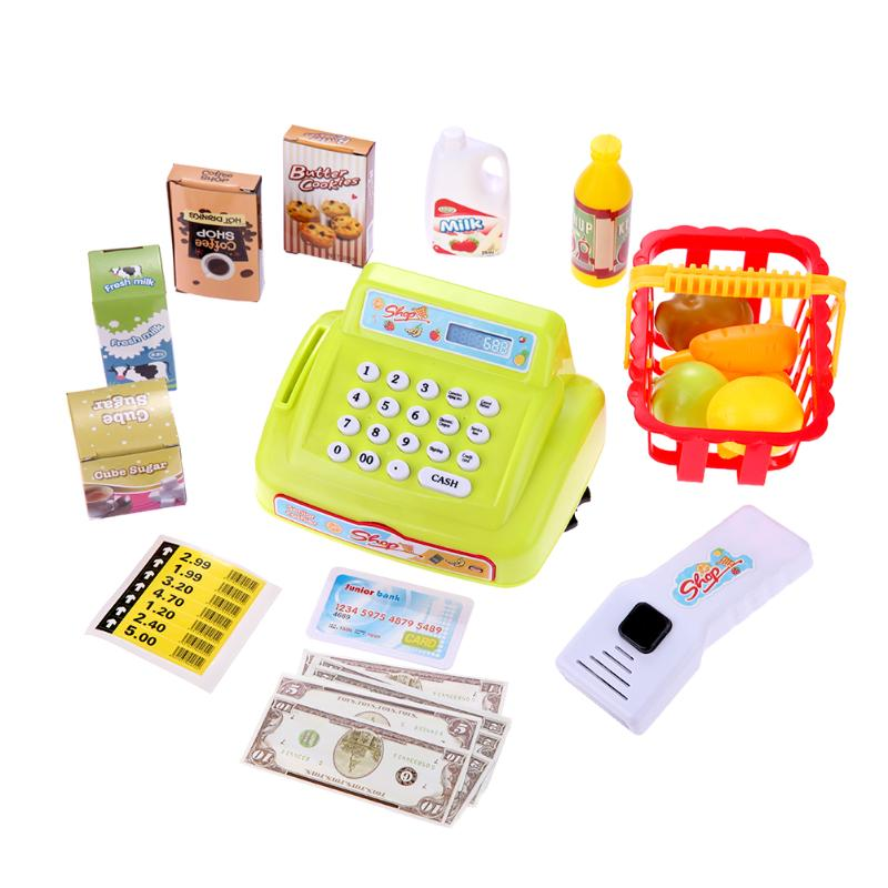 26pcs Simulation Supermarket Cash Register Kids Pretend Play Toys with Sound Light Role-Playing Educational Learning Toys Gifts