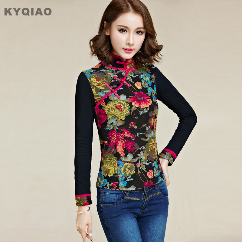 KYQIAO Traditional Chinese clothing 2019 plus size vintage ethnic mandarin collar long sleeve black print   blouse     shirt   blusa