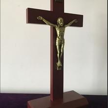 40 см христианский крест из массива дерева собора домашние настенные декорации распятие латинский крестный молитва НАД ИИСУСОМ крещение Рождество