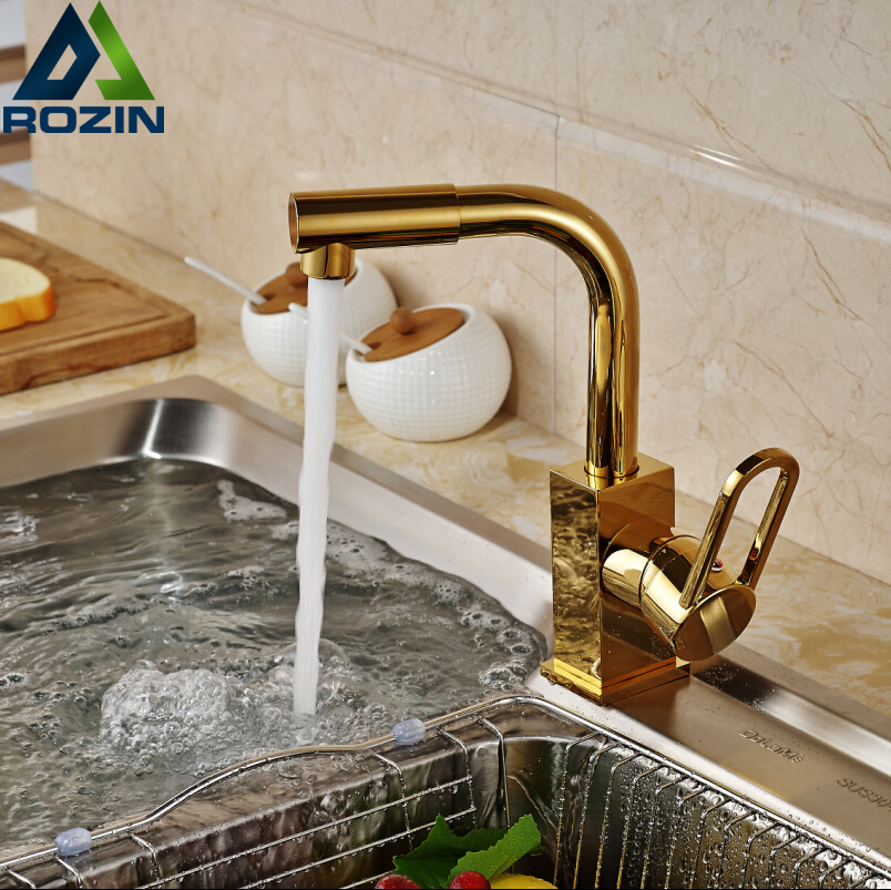 Factory Direct Sale Flexible Kitchen Sink Faucet Golden 360 Rotatable One Hole Wash Taps Deck Mounted