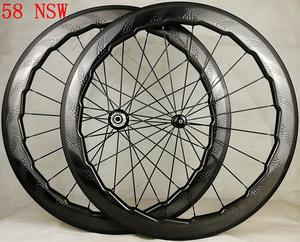 169a05060 Tubeless Road bike 58mm 454 dimple carbon wheels dimple clincher tubular wheel  carbon