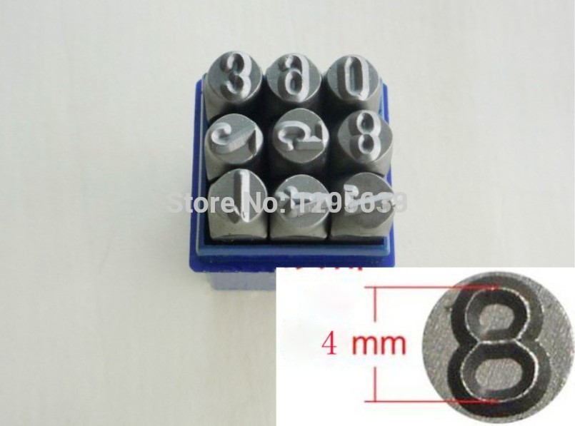 HOT SALE 4 MM NUMBER 0-8 PUNCH STAMP SET 9 PIECES ,JEWELRY MAKING TOOLS ...