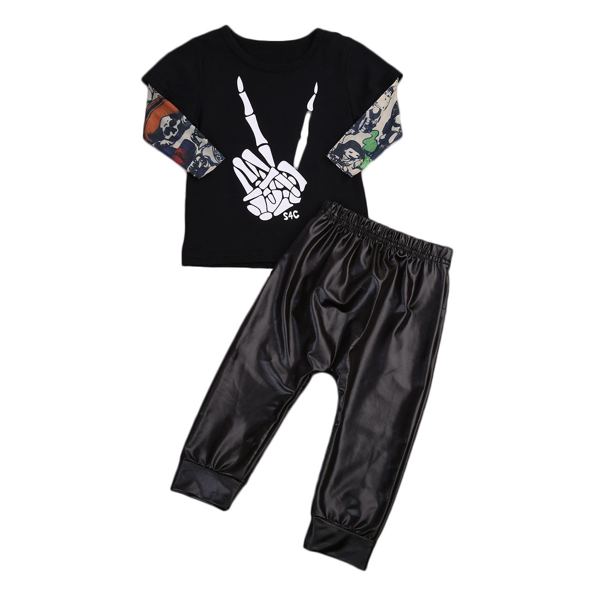 2PCS Infant Toddler Newborn Kids Baby Boys Cool Printed T-shirt Leather Long Pants Biker Boys Outfits Clothes Set