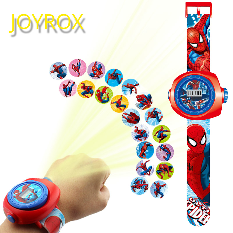 JOYROX Princess Spiderman Kids Watches Projection Cartoon Pattern Digital Child Watch For Boys Girls LED Display Clock Relogio(China)