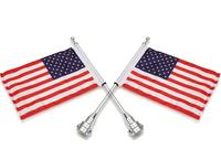 2PCS Motorcycle Chrome Rear Side Mount Flag Pole With USA Flag For Harley Davidson