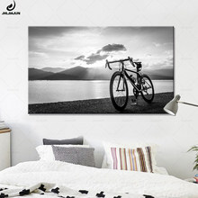 JHLJIAJUN Canvas Painting Seaside Sunset Nature Road Bike Black and White Print And Poster For Bedroom Dining Living Home Decor(China)