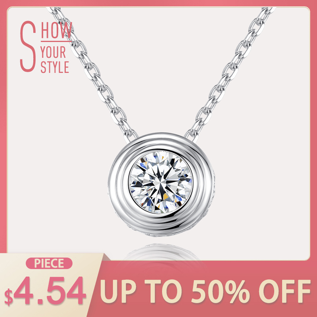 CZCITY Classic 1 Carat Clear Cubic Zirconia Delicate Round Pendant with Italy Bo