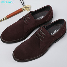 QYFCIOUFU Fashion Oxfords Men Cow Leather Suede Dress Shoes Genuine High Quality Soft Casual Breathable Classic Shoes Handmade grimentin men leather shoes cow suede vintage classic wingtip carved black mens oxfords dress shoes for male f5