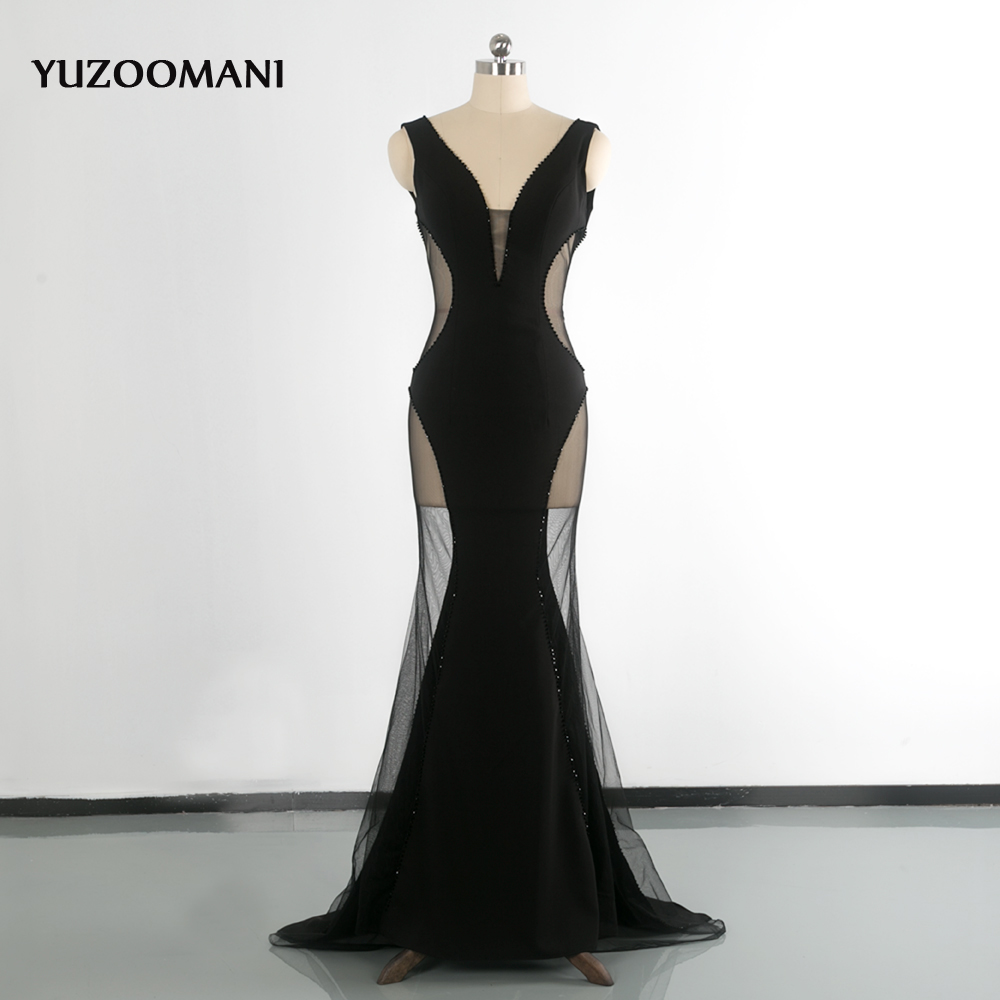 Evening Dress YUZOOMANI V Neck Beading Crystal With Open Back Sexy Prom Party Dresses Long Transparent