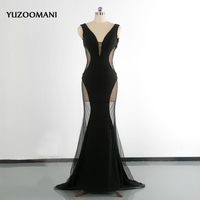 Evening Dress YUZOOMANI V Neck Beading Crystal With Open Back Sexy Prom Party Dresses Long Transparent Banquet Robe De Sorriee