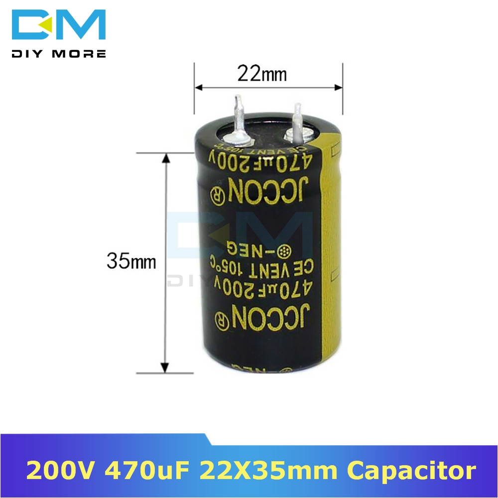 200V 470uF 22X35mm 22X35 Aluminum Electrolytic Capacitor High Frequency Low Impedance Through Hole Capacitor 22*35mm Diymore