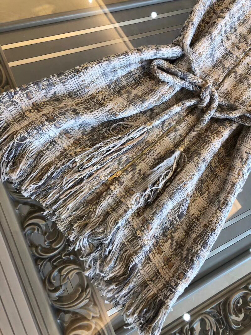 18 autumn Fashion show women's high-end quality tweed woven lace tassel dress Short sleeve miniskirt lattice Belt mini dress 4