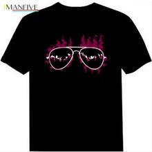 Free Shipping Men T Shirt Sound Activated Disco Rave Music Concert Party Dance Flash El Led Design
