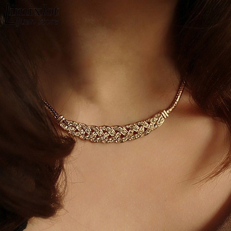 Vintage Noble Wheat Ear Full Rhinestone Short Necklace Choker Necklace Chunky Crystal Vintage Jewelry JN06230
