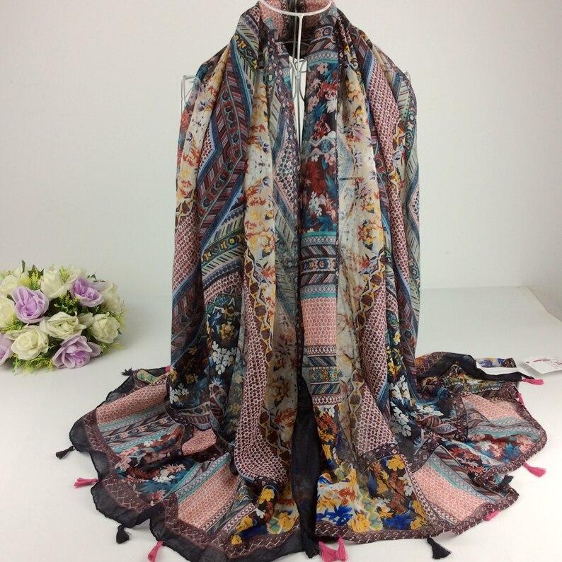 Ordre de mélange de Conception Hiver Floral Coton Voile Écharpe Gland Écharpe  Hijab Musulman, Châles Et Foulards, Wraps Châles, silencieux, Cape A3-10 772ca123357