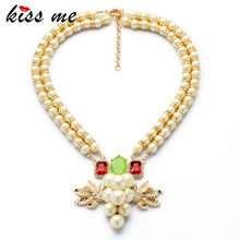 New Styles Statement Fashion Elegant Imitation Pearls Cross Pendant Necklaces &Pendant 2017(China)