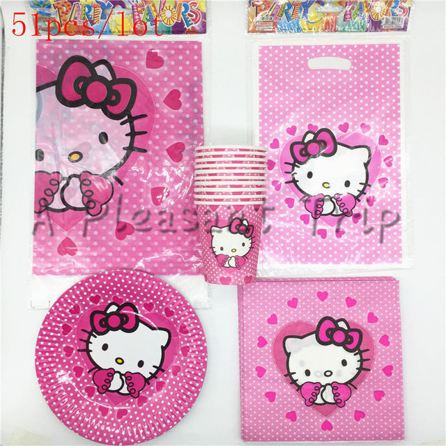 51pcs Lot Hello Kitty Theme Children Like Birthday Party Decoration Package Kitten Wedding