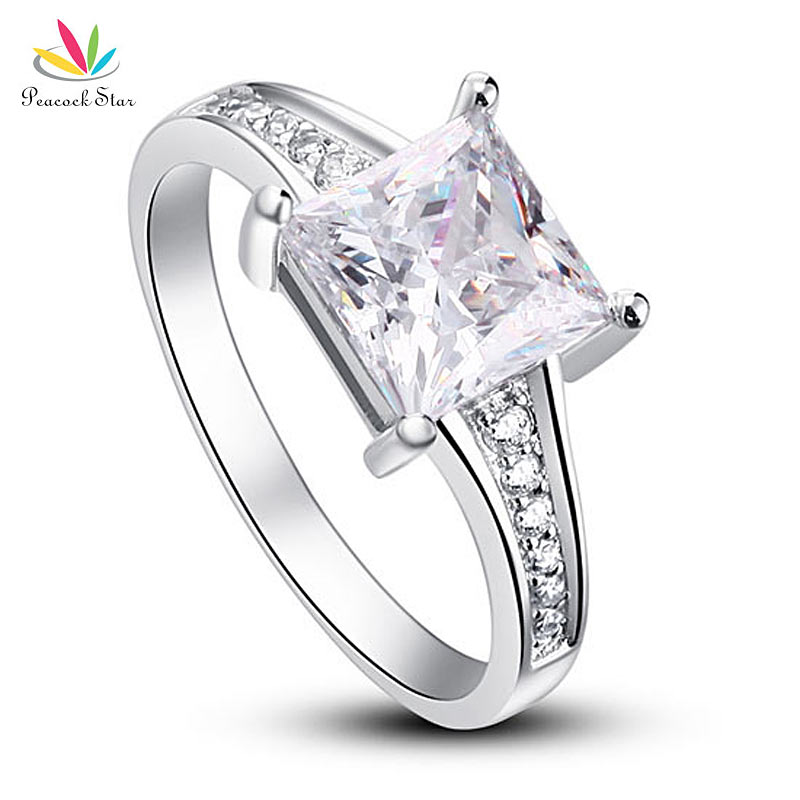 Павлин звезда 1,5 Ct Princes Cut Твердое Серебро 925 пробы свадебное обещание на помолвку кольцо CFR8006