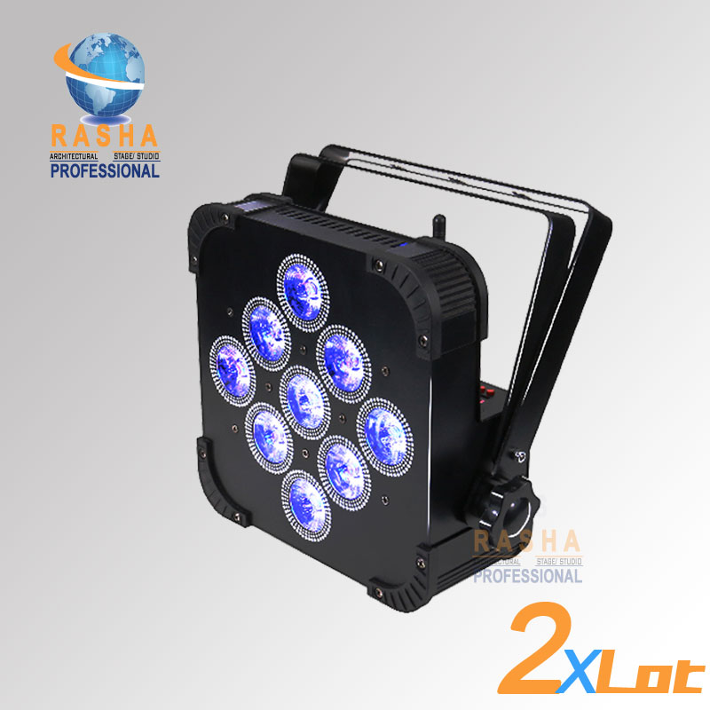 2X  Rasha Penta 9pcs*15W 5in1 RGBAW Wireless DMX512 LED Flat Par Can,LED Profile Par Light,Disco Stage Light