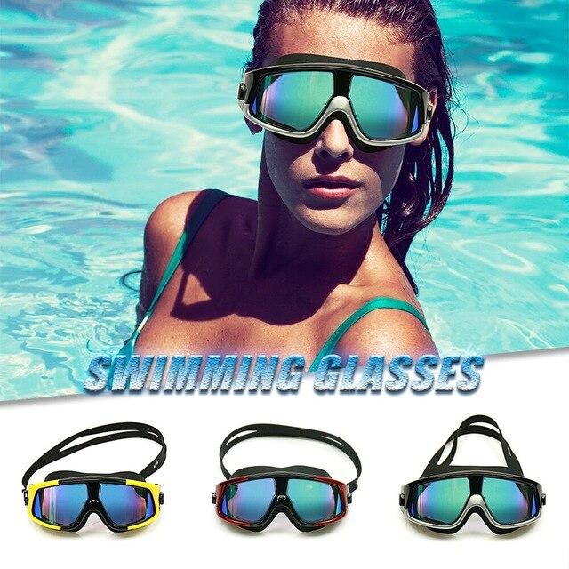 786122e5b1f2 Comfortable Silicone Large Frame Swim Glasses for Men Women s Swimming  Goggles Anti-Fog UV Swim Mask Waterproof Eyewear Silicone
