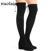 Faux Suede Women Boot Over The Knee Winter Shoes Woman Black Suede Leather Boots Ladies 7.5CM High Heels Shoe Thigh High Boots