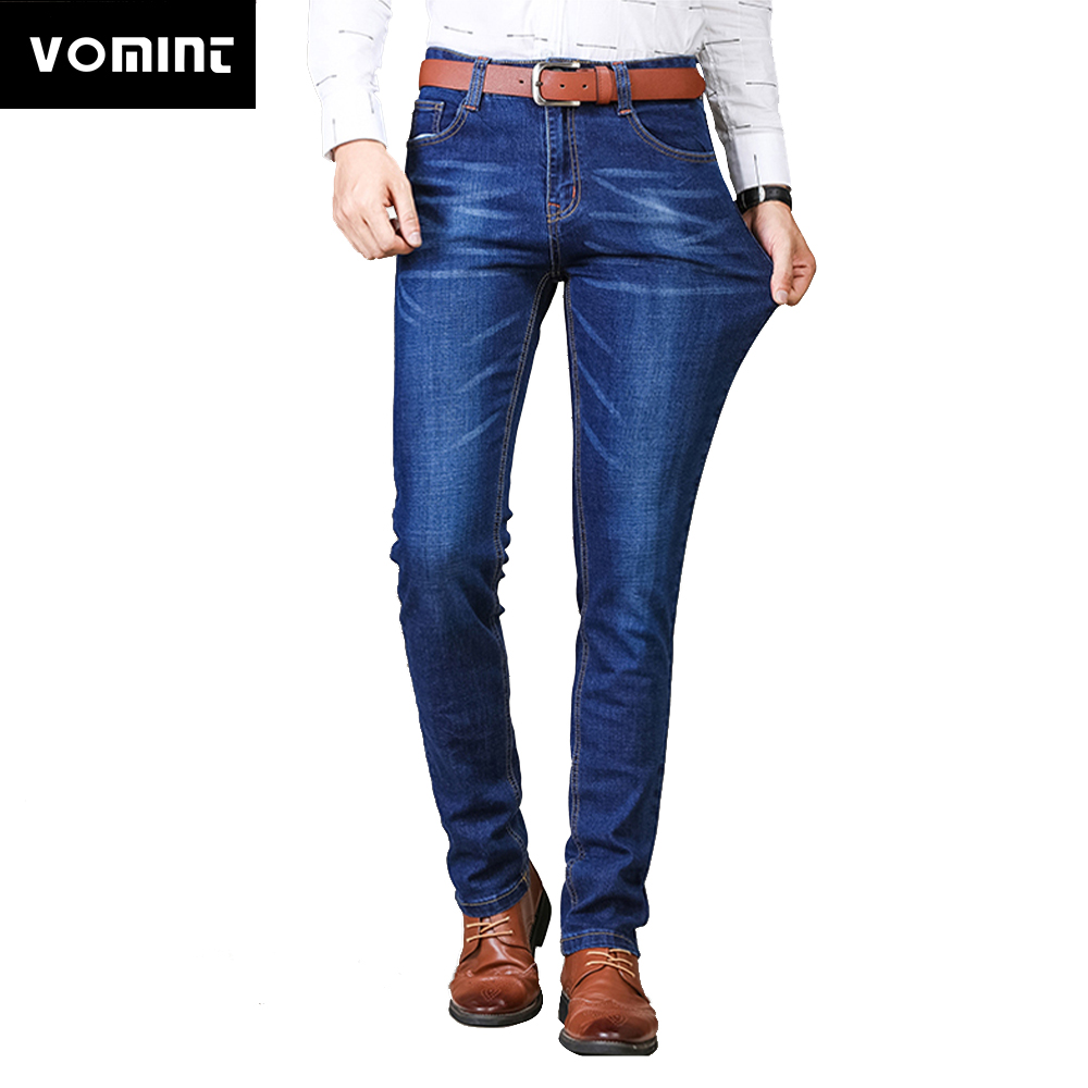 Vomint 2019 Mens   Jeans   New Fashion Men Casual   Jean   Slim Straight High Elasticity Feet   Jeans   Loose Stretch Long Trousers AYJ101