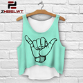 ZHBSLWT  Multi Colors T-Shirts 3D Print women tank tops camis print camisoles & tanks girls short crop top tees irregular lh68