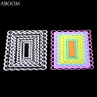 ABOOM Fresh Design 6PCS/Lot Rectangle Design Metal Carbon Steel Die Cut Embossing Folder Scrapbooking Decoration Cutting Dies