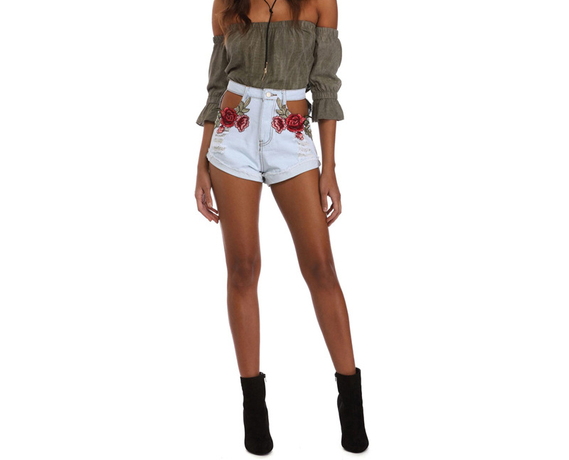 HTB1Ye qQVXXXXXQaXXXq6xXFXXXU - Sexy Hole High Waist Denim Shorts Flowers Embroidered PTC 156