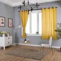 1PCS 140 215CM Chess Board Pattern Yellow Bay Window Curtain Pastoral Style Home Textile Cloth Curtains