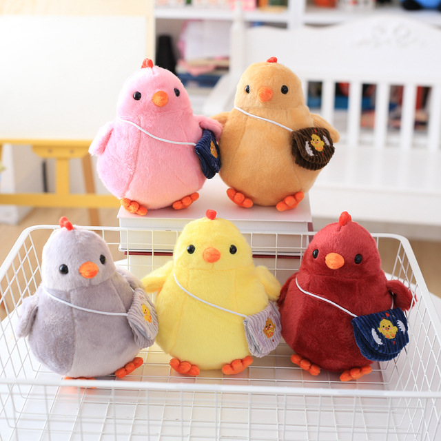 22CM Chicken Plush Toys Lovely Small Stuffed Doll Cute Gift for Wedding Holiday Birthday 60cm dolphin lovely chicken colorful plush toys birthday chick stuffed doll blue or pink whale gift stuffing toy c38