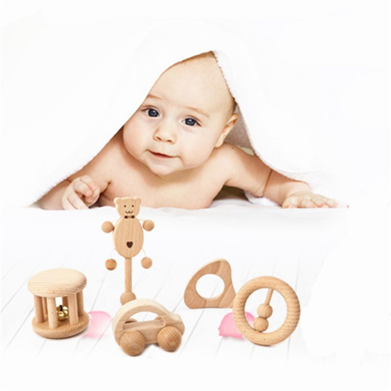 HBB Baby Toys Cartoon Montessori No Paint Nursing Teether Wooden Rattles Cute Puzzle Toys Newborn Toddler Infant Gifts 6 Styles