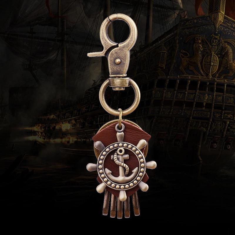 Punk Retro PU Leather Buckle Key Ring Holder Chain Car Rudder Metal Keychain Keyring KQS