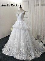 Vestido De Noiva Princesa Sheer Neck Ball Gown Lace Vintage Wedding Dress China Import Corset Back