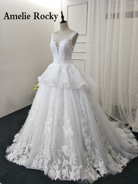 Vestido De Noiva Princesa Sheer Neck Ballkleid Spitze Vintage ...