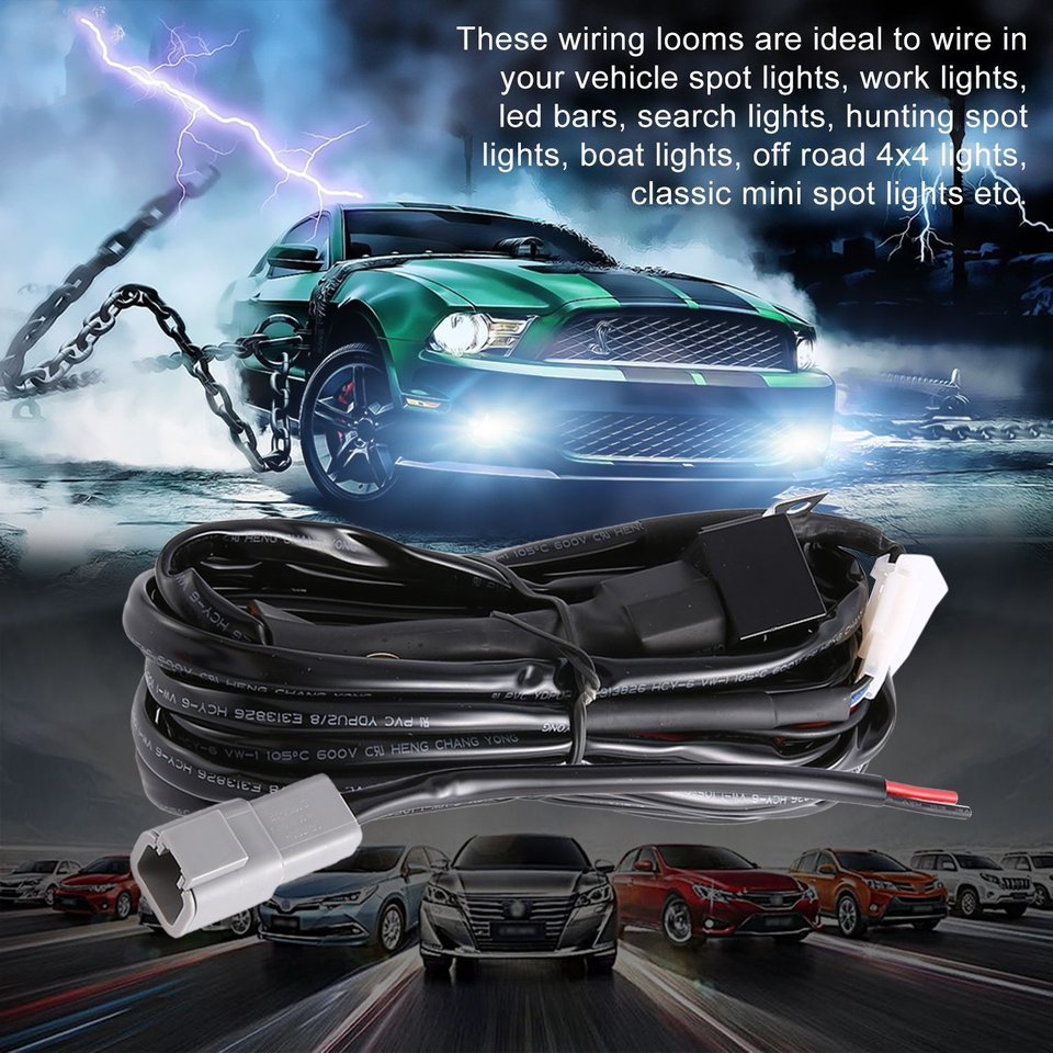 Wiring Harness Kit Loom For LED Work Driving Light Bar Spotlights With Fuse Switch Relay 12V 40A Twin Wiring Harness Kit
