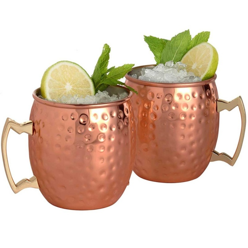 4pcs Moscow Mule Mug Stainless Steel Beer Whisky Cup Hammered Copper Plated Bar Drinkware 530ml 18Ounces