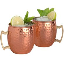 Moscow Mule Mug Stainless Steel Coffee Cup Mug Beer Whisky Cup Hammered Copper Plated Bar Drinkware 530ml 18Ounces(China)
